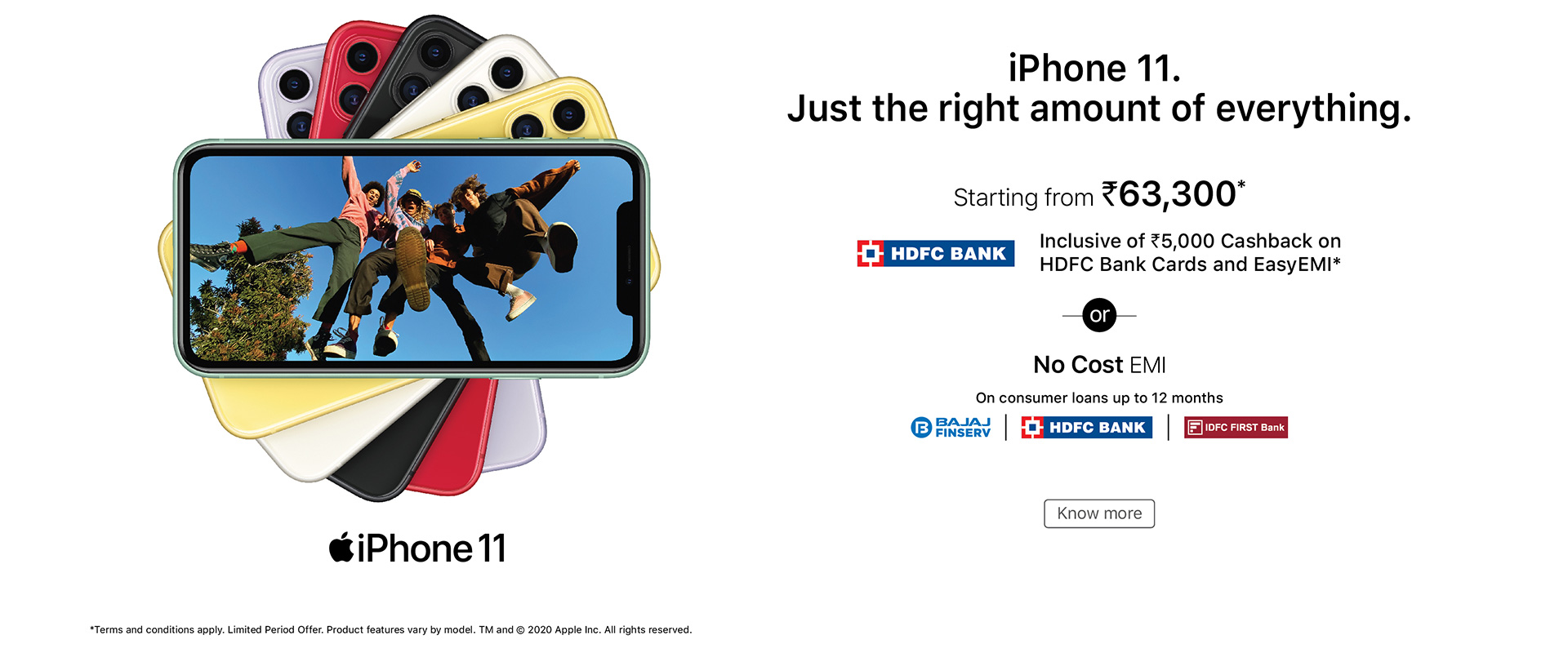 hdfc easy-emi offer iPhone 11 banner