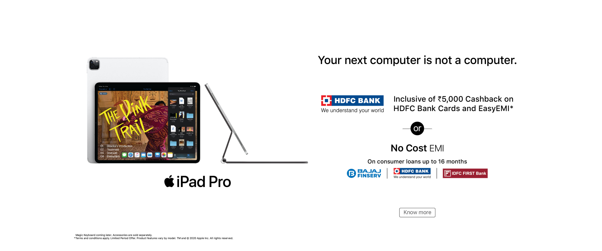 hdfc easy-emi offer iPad Pro banner
