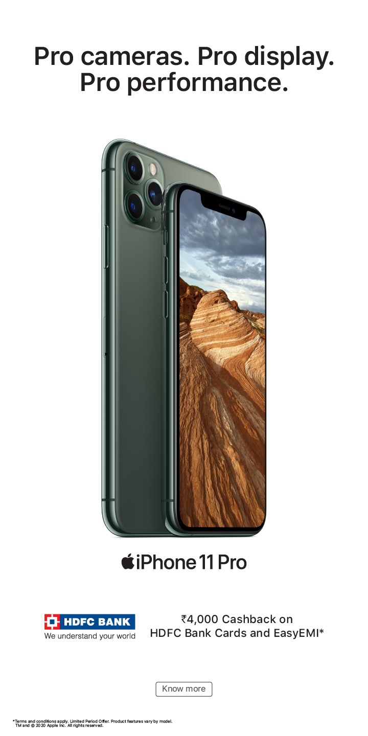 hdfc easy-emi offer iPhone 11 Pro banner mobile