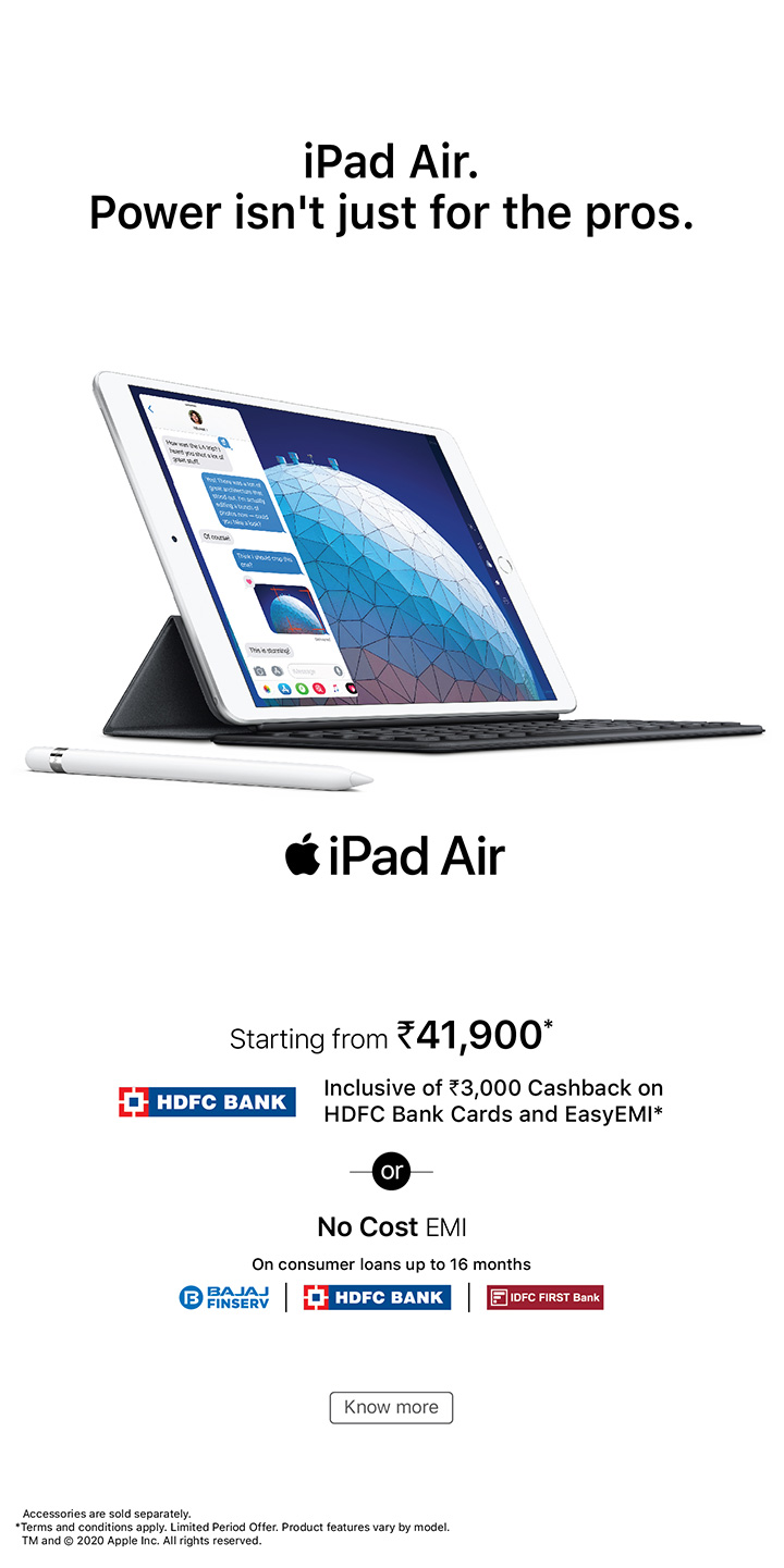 hdfc easy-emi offer iPad Air banner mobile